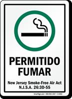 Permitido Fumar Spanish Smoking Allowed Sign