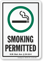 New Mexico Smoking Permitted Sign