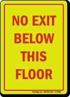 No Exit Below This Floor Sign