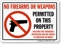 No Firearms Weapons Permitted Sign