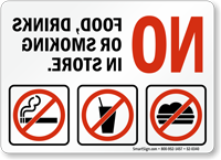 No Food Drinks Or Smoking Mirror Text Sign