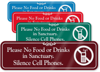 Please No Food Or Drinks In Sanctuary Sign