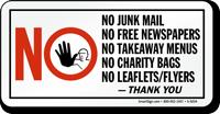 No Junk Mail Free Newspapers Takeaway Menus Sign
