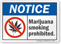 Marijuana Smoking Prohibited Notice Sign