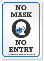 No Mask No Entry NYS Executive Order Face Covering Sign