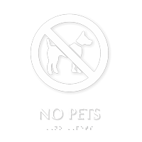 No Pets TactileTouch Braille Sign with Graphic