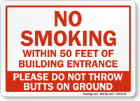 No Smoking Within 50 Feet Of Entrance Sign