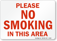 Please No Smoking In This Area Sign