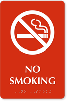 No Smoking Tactile Touch Braille Engraved Sign