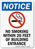 No Smoking Within 20 Feet Of Building Entrance Sign