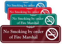 No Smoking By Order Of Fire Marshal Sign