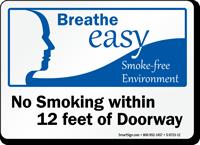 No Smoking Within 12 Feet Of Doorway Sign