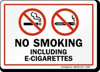 No Smoking Including E-Cigarettes Sign With Graphic