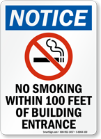 No Smoking Within 100 Feet Building Entrance Sign