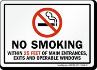 No Smoking Within 25 Feet Of Main Entrances Sign