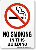 No Smoking In This Building (symbol) Sign