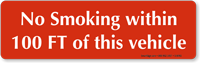 No Smoking Within 100 Feet Sign