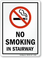 No Smoking in Stairway Sign