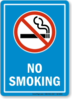 Smoke Free Area Sign With Blue Background