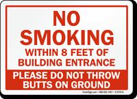 No Smoking Within 8 Feet Sign