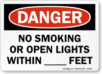 No Smoking Or Open Lights Within Sign