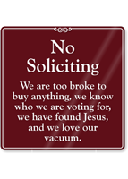 No Soliciting Showcase Sign