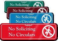 No Soliciting No Circulars Engraved Sign