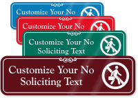 No Soliciting Symbol Sign