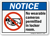 No Wearable Cameras Permitted In Locker Room Sign