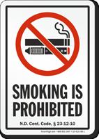 North Dakota Smoking Is Prohibited No Smoking Sign