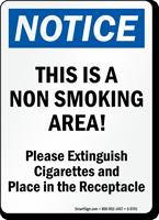Notice Non Smoking Area Sign