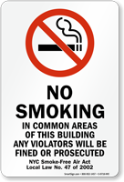 No Smoking, NYC Smoke-Free Air Act Law Sign