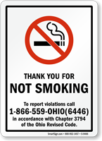 THANK YOU NOT SMOKING violations call Sign
