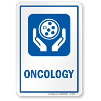 Oncology Cancer Hospital Sign with Cancer Cell Symbol