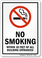 NO SMOKING WITHIN 10 FEET Sign