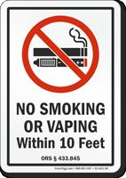 Oregon Within 10 Feet Oregon No Smoking Sign