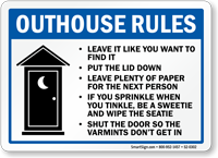 Outhouse Rules Put The Lid Down Sign