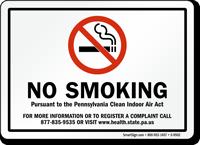 NO SMOKING PENNSYLVANIA CLEAN AIR ACT Sign