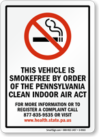 This Vehicle Is Smokefree By Order Sign