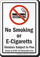 Philadelphia No Smoking Sign