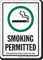 Pennsylvania Smoking Permitted Sign