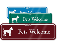 Pets Welcome with Graphic ShowCase™ Wall Sign