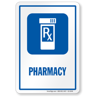 Pharmacy Hospital Medical Shop Sign with Rx symbol