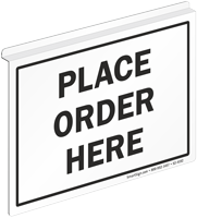 Place Order Here 2 Sided Z Sign for Ceiling