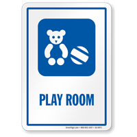Play Room Sign with Teddy Ball Symbol