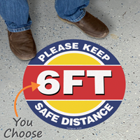 Please Keep 6ft Safe Distance SlipSafe Floor Sign