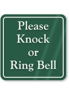 Please Knock Or Ring Bell ShowCase Wall Sign