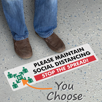 Please Maintain Social Distancing SlipSafe Floor Sign
