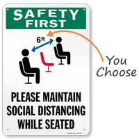 Please Maintain Social Distancing While Seated Sign