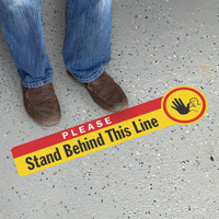 Please Stand Behind This Line SlipSafe Floor Sign